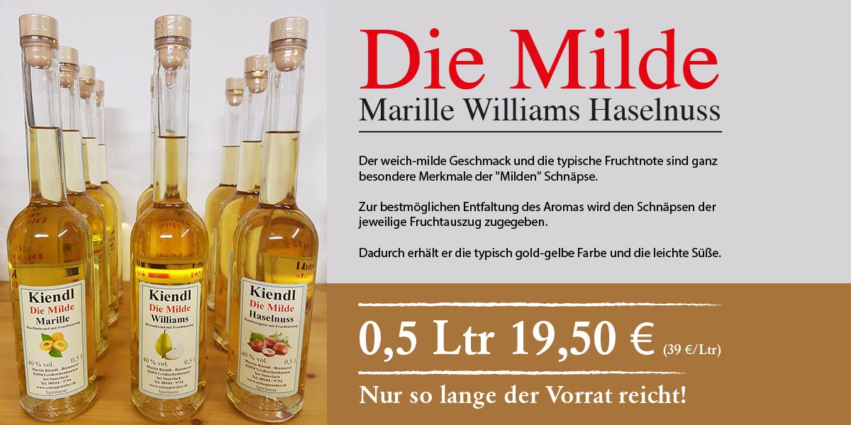 Die Milde (Brand) - Marille, Williams, Haselnuss